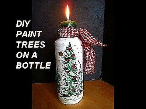 Diy Painted Bottle Trees Christmas Vase Candle Holder Christmas