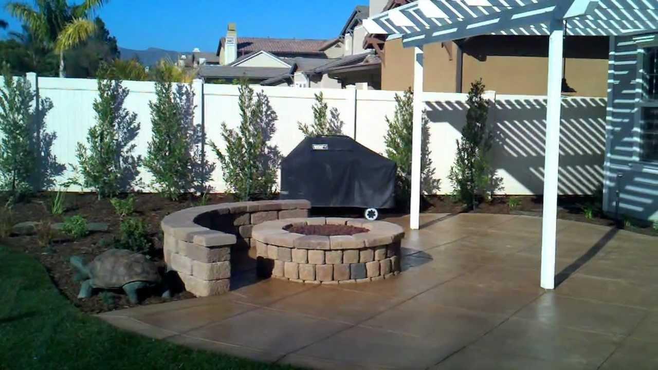 concrete patio designs with fire pit. Ventura Landscape Design, Fire Pit, Wood Patio Cover, Stamped And Color Concrete, - YouTube Concrete Designs With Pit