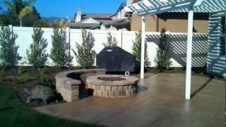 Ventura Landscape Design, Fire Pit, Wood Patio Cover, Stamped And Color Concrete, Patio