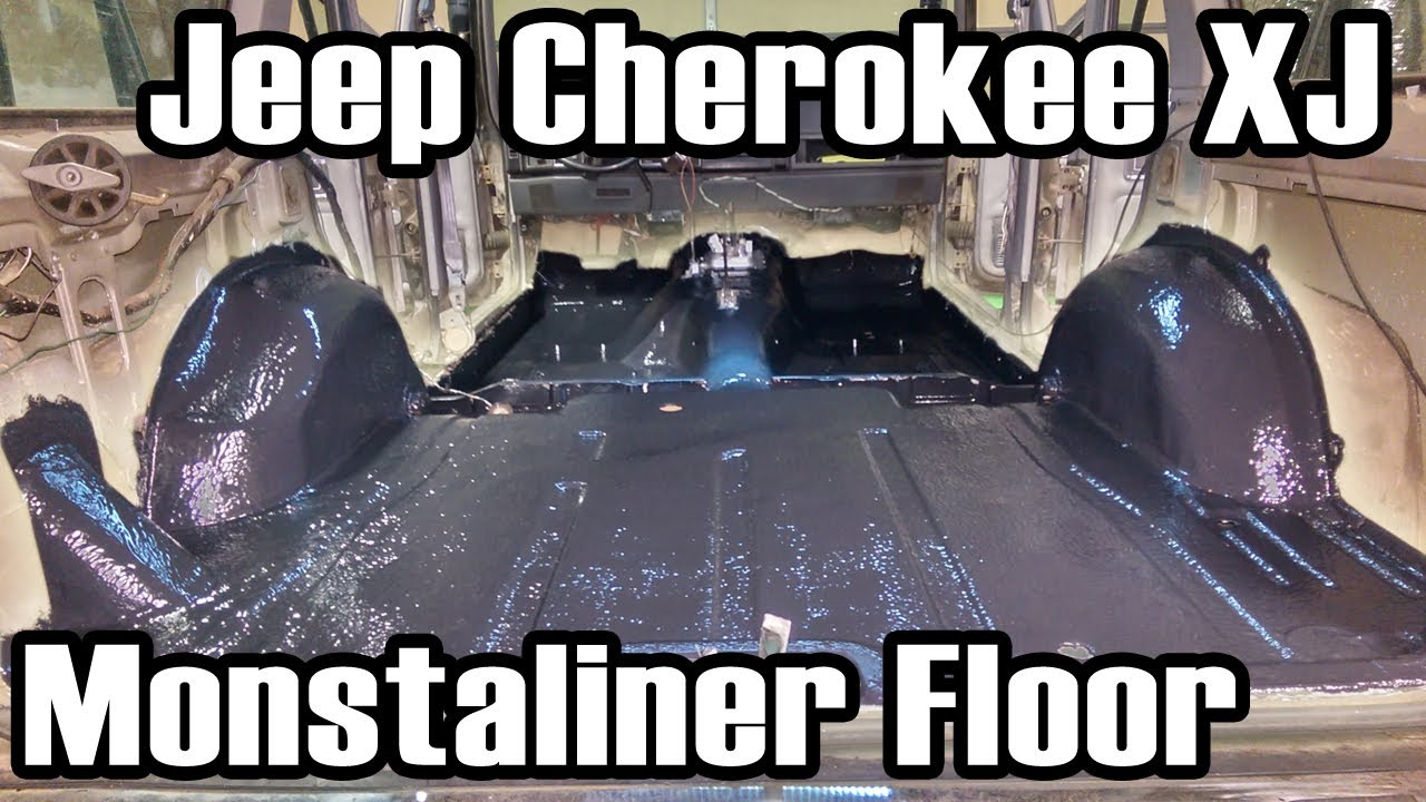 89 Cherokee Applying Monstaliner To Floor Pans Youtube
