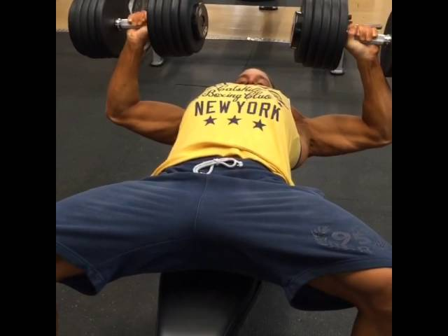 100 lbs dumbbell chest press on show day!