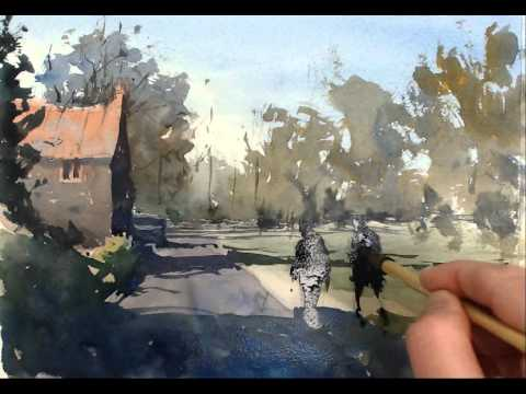 Watercolour Demonstration - How To Paint A Country Scene With House, Trees And People #1