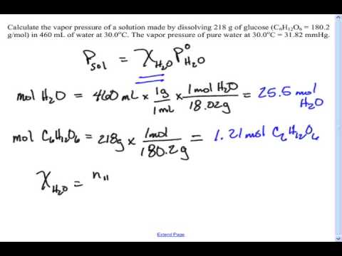 Vapor pressure example problem - YouTube