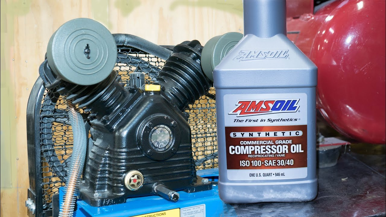 AMSOIL Synthetic Compressor Oil - Changing the oil in 2 air compressors