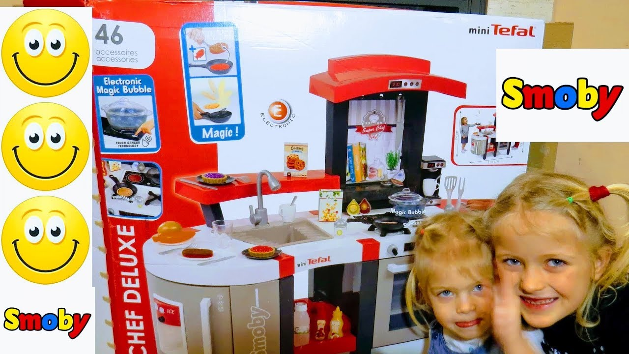 Fun Toys Kitchen For Children Smoby Superchef Deluxe Unboxing Kuchnia Dla Dzieci Mini Tefal