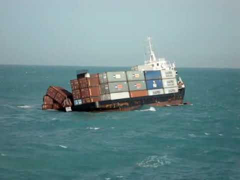 a container ship sinking  due to heavy swell and rough sea condition at arabian sea
