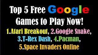 Free Google Games To Play Now- Elgoog Games-  Atari Breakout, Google Snake Game, T Rex Dash, Pacman