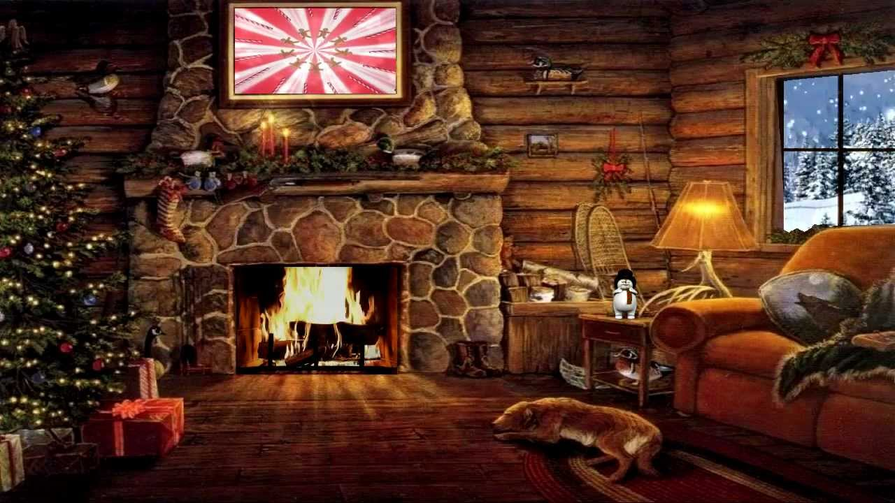 Christmas Cottage with Yule Log Fireplace and Snow Scene