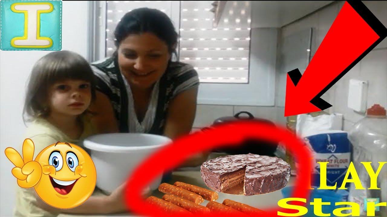 ВЛОГ Как сделать сладкую колбаску и торт своими руками.Детский проект на русском языке,смешное видео