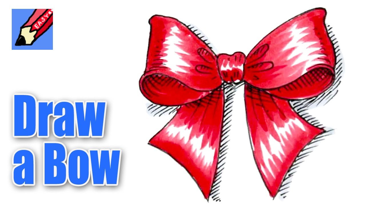 How To Draw A Christmas Bow Youtube