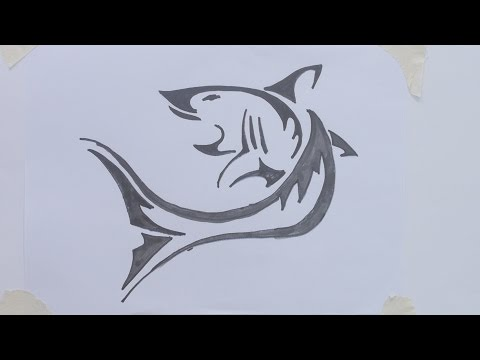 How to draw shark tribal tattoo