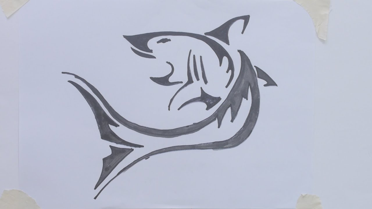 How To Draw Shark Tribal Tattoo Youtube