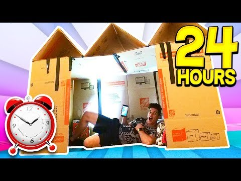 24 HOUR GIANT BOX FORT SURVIVAL CHALLENGE! 📦🏠