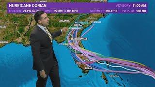 Hurricane Dorian latest forecast path and spaghetti plot