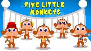 Пять маленьких обезьян   детская песня   детские рифмы   мультфильмы для детей   Five Little Monkeys