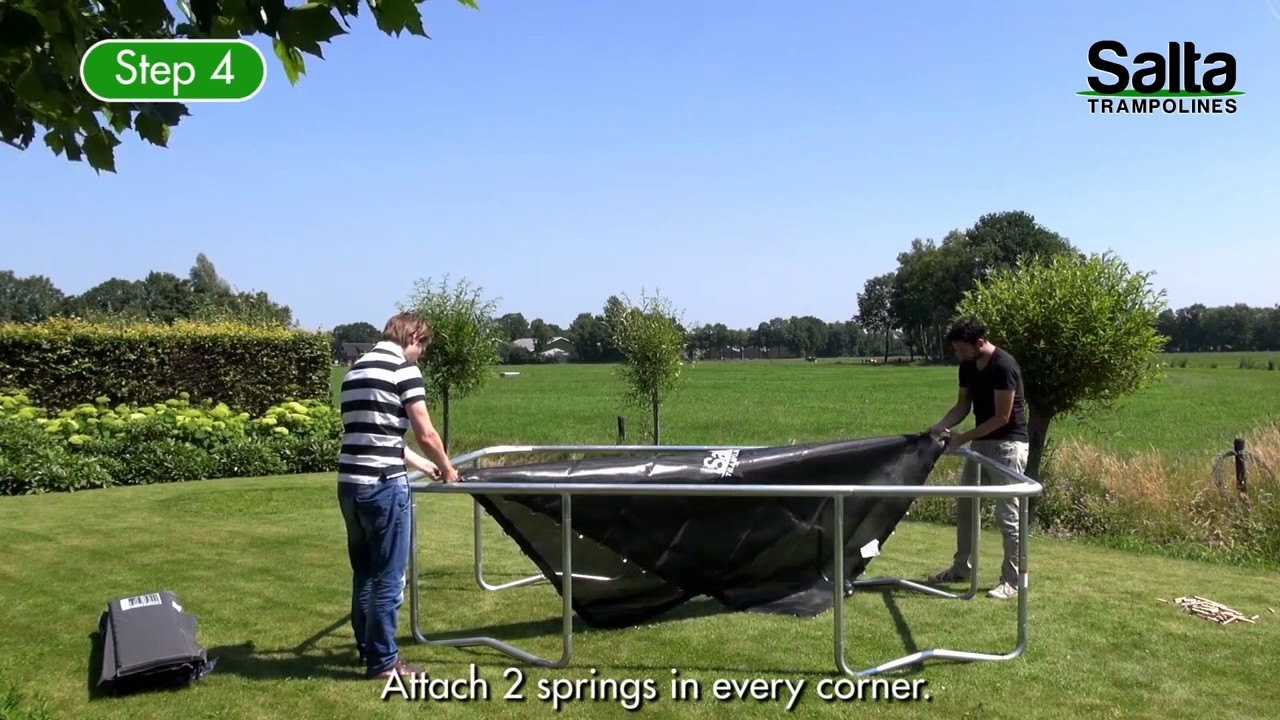 salta trampolin rechteckig aufbau video trampolin youtube. Black Bedroom Furniture Sets. Home Design Ideas