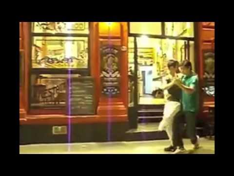 Two guys dancing El Tango de Roxanne re dubbed