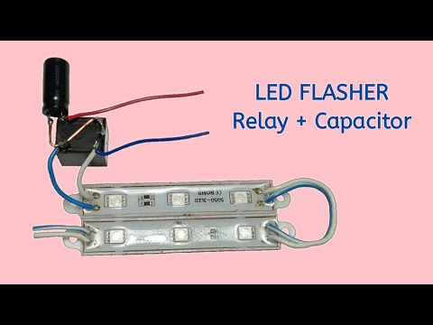 12v LED Flasher Using Relay & Capacitor | Simple Circuit