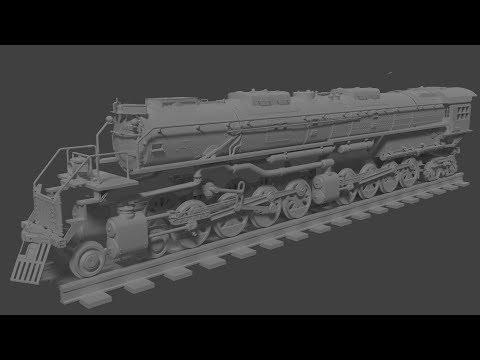Modeling a train: 4000-class 4-8-8-4  Blender timelapse part 1
