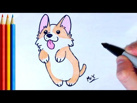 How To Draw Corgi Dog / Puppy - Step By Step Tutorial For Kids