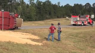 Truck flips, dumps sand on Mississippi 67