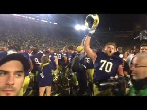 Notre Dame Alma Mater and Fight Song following victory over USC