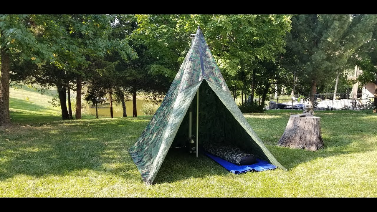 how to make a hot tent teepee for ammo can stove youtube. Black Bedroom Furniture Sets. Home Design Ideas