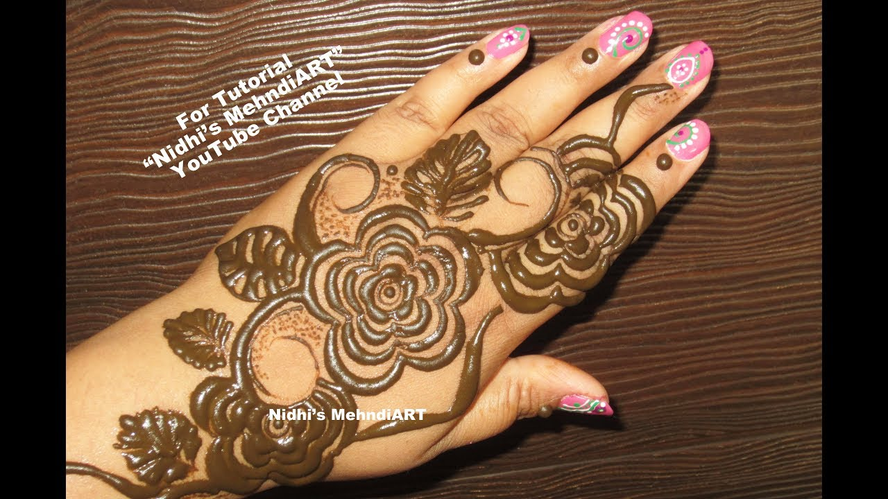 Mehndi Henna Designs S : Easy diy rose flower gulf style mehndi henna design tutorial youtube