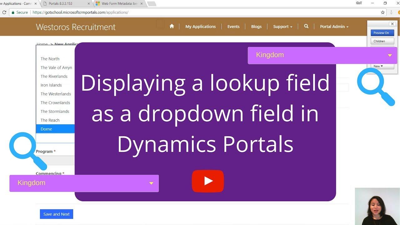 Displaying a lookup field as a dropdown field in Dynamics Portals