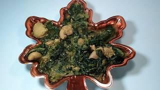 Pui shak/ Hilsha fish egg with pui shak recipe banglla/llisih macher Dim.
