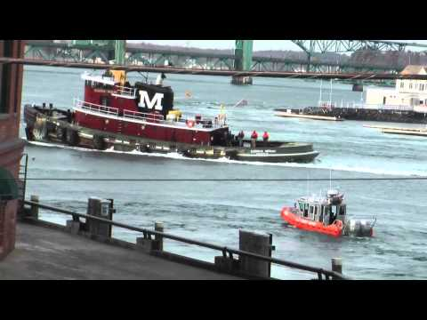 Miss Stacy tugboat in trouble fights from getting sucked under bridge