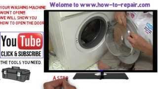How to open a washing machine door that won't open normally.(http://www.how-to-repair.com/help/how-to-open-a-washing-machine-door-that-is-stuck-shut/ to donate you can click here ..., 2013-08-22T19:51:26.000Z)