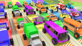 Learn Colors for Children to Learn with Dancing Monster Street Vehicles with Color Water Sliders