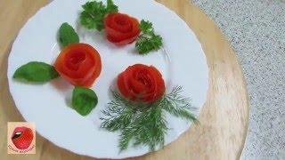 Украшения из овощей. Роза из помидор. Цветы из овощей. Розочки. Кухня вкусная - 5
