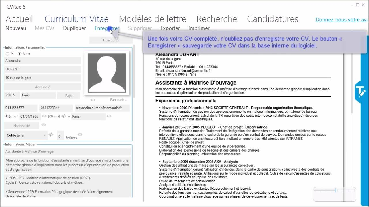 creer un cv avec disponibilite