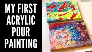 My First Acrylic Pour Painting | Easy Art Demo for Beginners