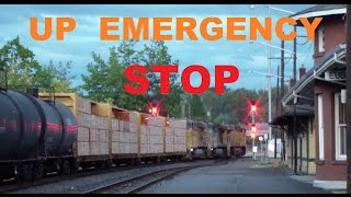 Union Pacific Train BREAKS DOWN - EMERGENCY STOP AIR BRAKE - Eugene 8/29