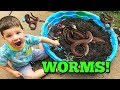 Caleb & Mommy Play Outside with GIANT Mud Pies with Real Worms!