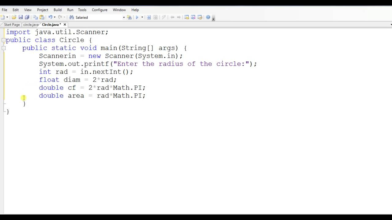 Java Program To Find Area Of Circle
