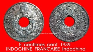 L2S เหรียญรูต่างประเทศ 5 centimes cent 1939 INDOCHINE FRANCAISE Indochina