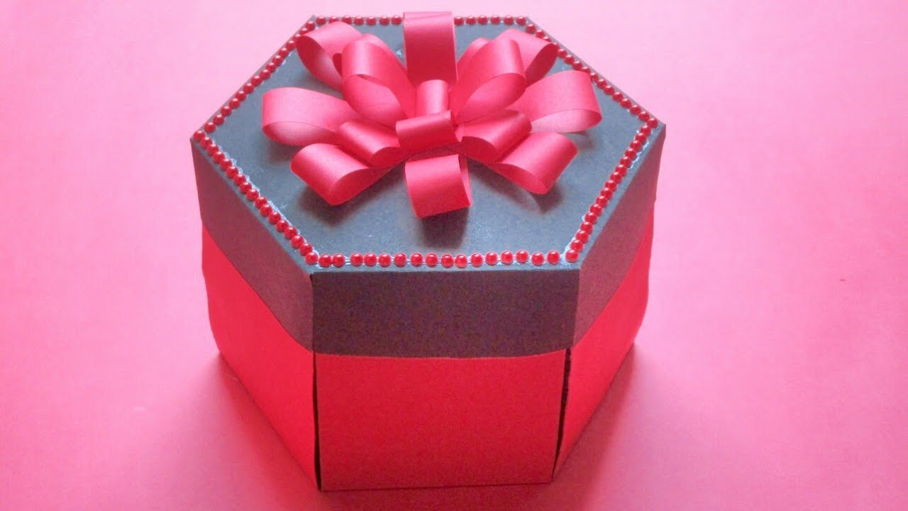 Hexagonal explosion boxred black birthday anniversary