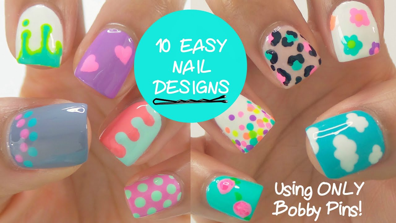 10 EASY nail designs using ONLY bobby pins! - YouTube
