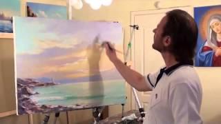 Уроки живописи Игоря Сахарова  Закат на море