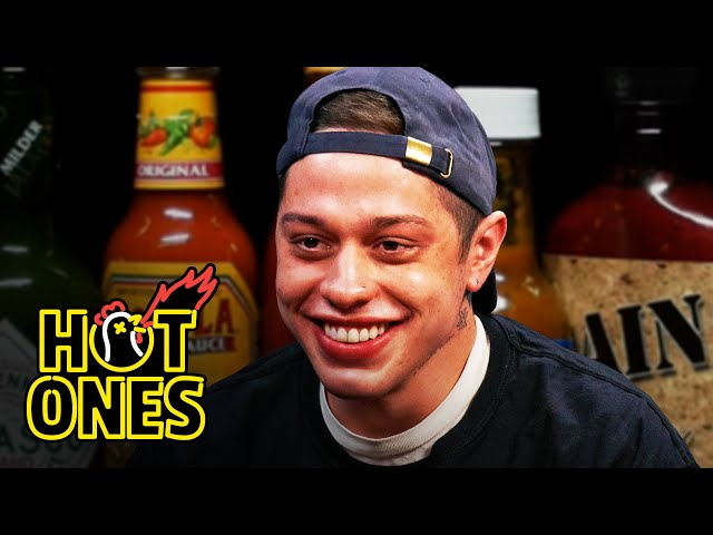 Pete Davidson Drips With Sweat While Eating Spicy Wings   Hot Ones