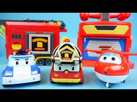Robocar Poli Super Wings station Roy fire car toys with Tayo Pororo