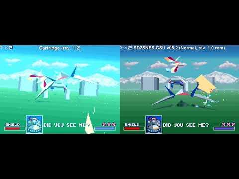 Star Fox comparison - orig  cartridge (rev  1 2) vs  redguy's v08 2 beta  firmware (Normal, 1 0 rom)