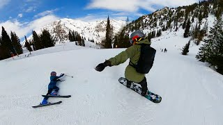 Dad Saves His Little Girl! Ski Lessons and Snowboard Routine for Kids and Baby. 8, 6, 3 yrs old.