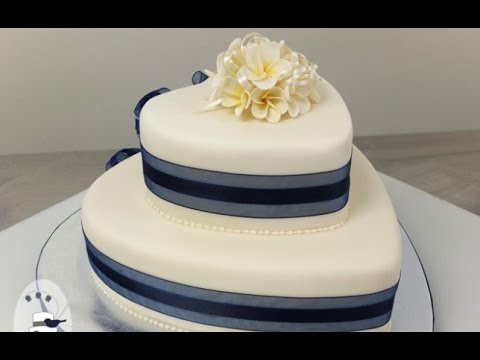 Two Tier Heart Shaped Wedding Cake   YouTube