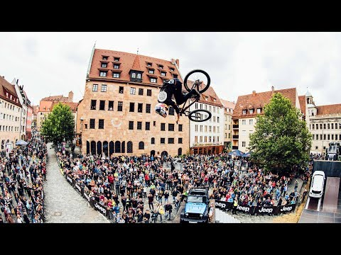 Emil Johansson jumping through the Districts of Nuremberg. I Red Bull District Ride 2017