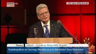 100 Jahre Willy Brandt: Festakt in Lübeck am 12.12.2013